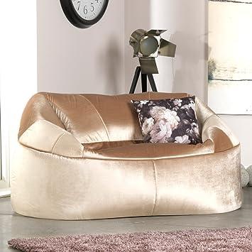 ICON GATSBY 'Liebes Sitz' – 'CHAMPAGNE' – Extra Luxus Zwei-Sitze Kuschel Sofa - Ein Sofa fur Zwei in erstklassigem Samt – Liebessofa fur Zwei