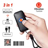 Tera Mini Wireless Barcode Scanner Compatible with Bluetooth, Printed Digital 1D 2D QR Barcode Reader Scanner Portable for PC, Laptop, Smartphone and Tablet with Vibration Alert Function (Orange) (Color: Orange)