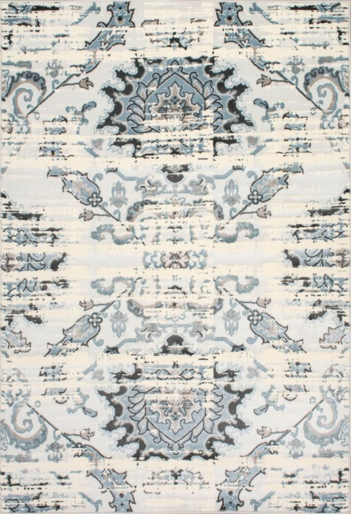 Rugs USA 5-Feet-by-8-Feet Vintage Distressed Mirrored Florette Area Rug, Cream 1