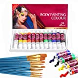 Face Paint Kit,12 Colors Professional Face Painting Tubes, Non-Toxic & Hypoallergenic Body Paint Halloween Makeup, Rich Pigment, Face Painting Kits with 10Pieces Round Pointed Tip Nylon Hair Brush (Color: Great for Adult)