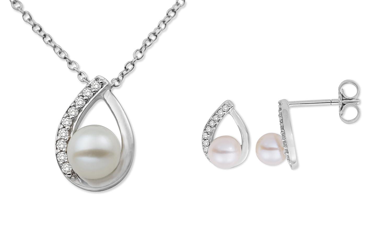Miore Damen-Schmuckset Halskette + Ohrringe 375 Weißgold 3 Süßwasser-Zuchtperlen weiß 27 Diamanten farblos USP031W als Geschenk