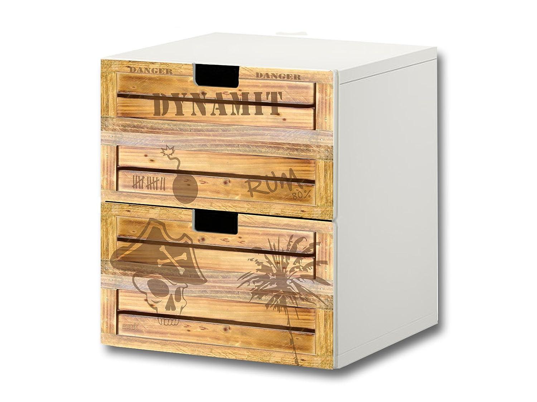 """""""Pirate Style"""" Möbelsticker / Aufkleber – S2K05 – passend für die Kinderzimmer Kommode mit 2 Fächern / Schubladen STUVA von IKEA – Bestehend aus 2 passgenauen Möbelfolien (Möbel nicht inklusive) bestellen"""
