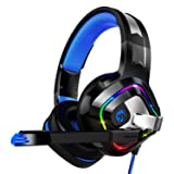 ZIUMIER Gaming Headset PS4 Headset, Xbox One Headset with Noise Canceling Mic & RGB Light, PC Headset with Stereo Surround Sound, Over Ear Headphones for PC, PS4, Xbox One, Laptop (Color: Blue, Tamaño: 1)