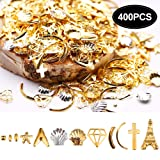 Modelones 3D Nail Rivet Studs Alloy Metal Gold Silver Charming Shiny for Nail Art Decoration Manicure DIY 400 Pieces (Color: #4)