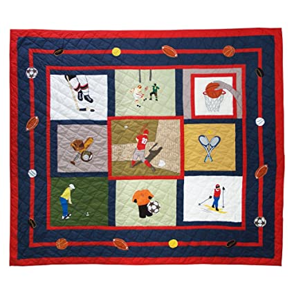 "Play To Win Quilt Twin 65"" x 85"" QTPLWN by Patch Magic"