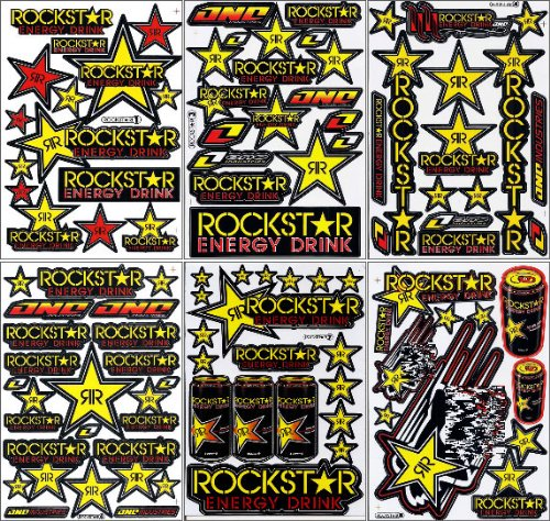 6x Rockstar Energy Drink Decal Sports Racing Vinyl Sticker 6 Sheets. #01 (Rockstar Energy Drink Motocross compare prices)