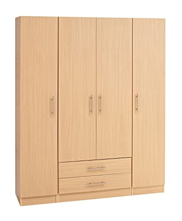 Treat Your Home Harriett 4 Door Plus 2 Drawers Wardrobe, Wood, Walnut