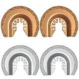 XXGO 4 Pcs Carbide Diamond Semi Circle Oscillating Multi Tool Grit Grout Blades XG4002CD (Color: Gold / Silver)