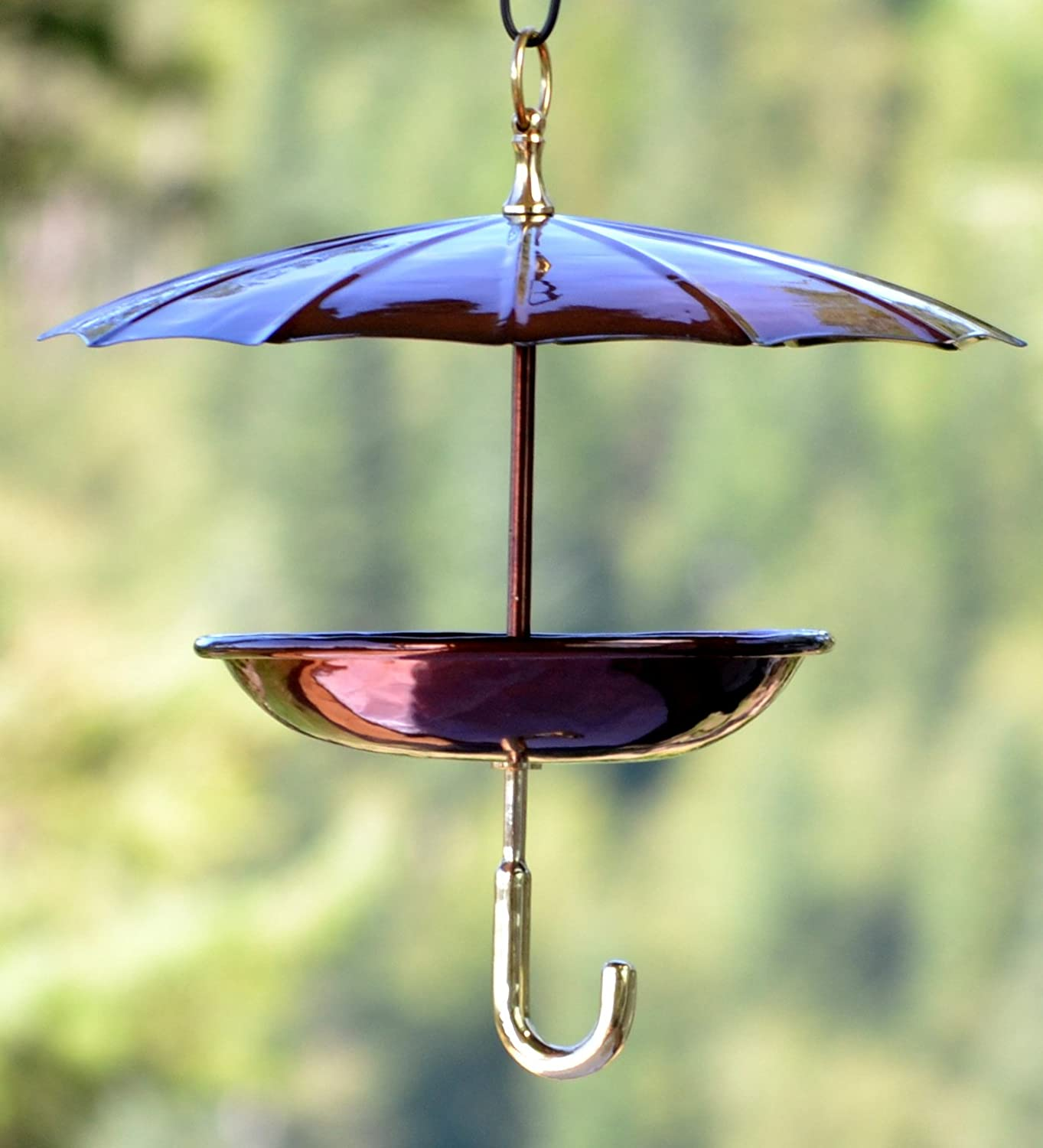 Birds feeder hanging protects seed metal tray pet feeding for Decorative birds for outside