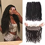 Brazilian Deep Wave Bundles with Ear to Ear Frontal 3 Bundles Brazilian Deep Curly Virgin Hair with Lace Frontal Closure Pre Plucked Remy Human Hair Bundles 100g (18 with 20 22 24, natural black) (Color: bundles with frontal, Tamaño: 20/22/24+18 Inch)