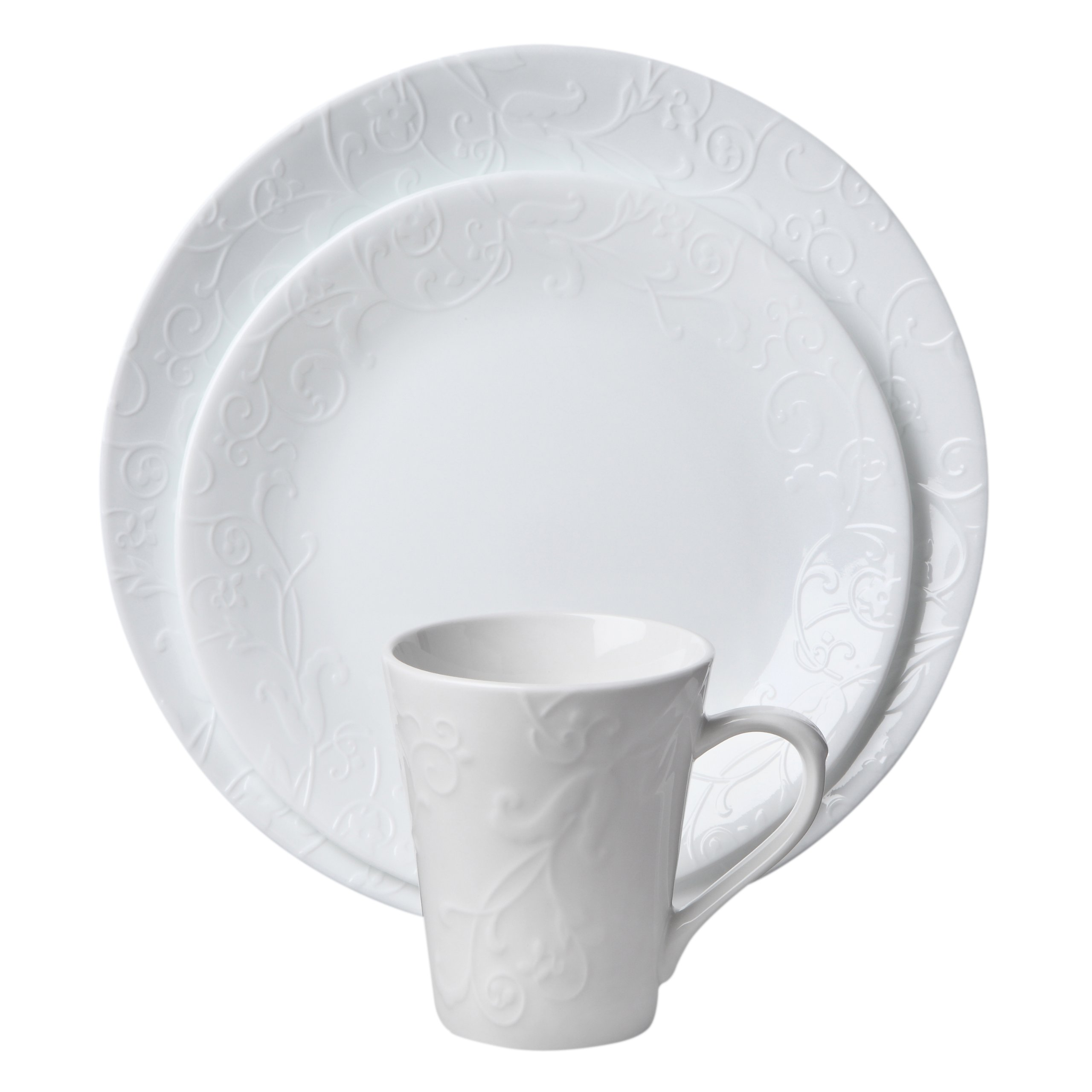 corelle embossed 16 piece dinnerware set bella faenza ebay