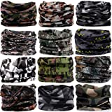16-in-1 12PCS/8PCS/6PCS Multifunctional Headwear yoga Sports Stretchable Casual Headband Seamless Uv Solid Moisture Neckwarmer Headwrap Mask Bandana Scarf (12pcs-army camouflage) (Color: 12pcs-army camouflage)