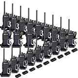 Retevis RT17 20 Pack Wakie Talkies with Earpiece 2 Pin UHF 16 Ch Monitor Encryption 2 Way Radios Rechargeable Long Range Two Way Radios Security (Color: Black)