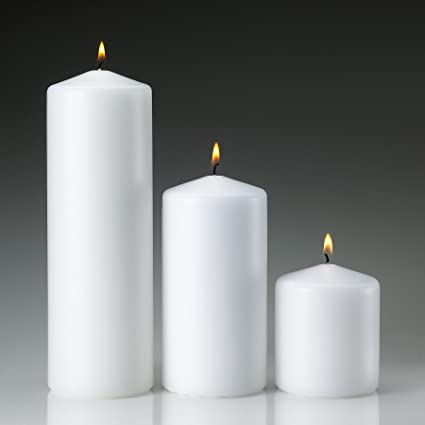 White Pillar Candles Set of 3 by Light In the Dark
