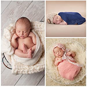 Pllieay 3 Pieces Newborn Stretch Wraps Baby Photography Props Long Ripple Wrap Blanket (White, Pink and Navy)