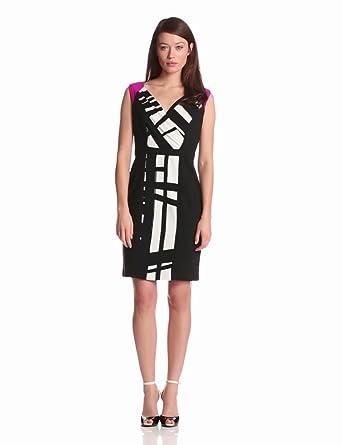 Calvin Klein Women's Surplus Dress, Black/Winter White Combo, 6