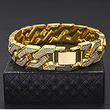 Unpara Hip Hop Bling Cuban Bracelet Sand Explosion Chain Gold Silver Mens Bracelet (Gold) (Color: Gold)