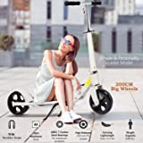 OppsDecor Adult Scooter with 3 Seconds Easy-Folding System 200mm Big Wheels Teens Commuter Scooter, 220lbs Adjustable City Scooter Age 8 Up (White) (Color: White)