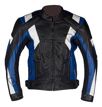 Texpeed qualité Hommes Bleu / Blanc blindé Moto Leather Jacket