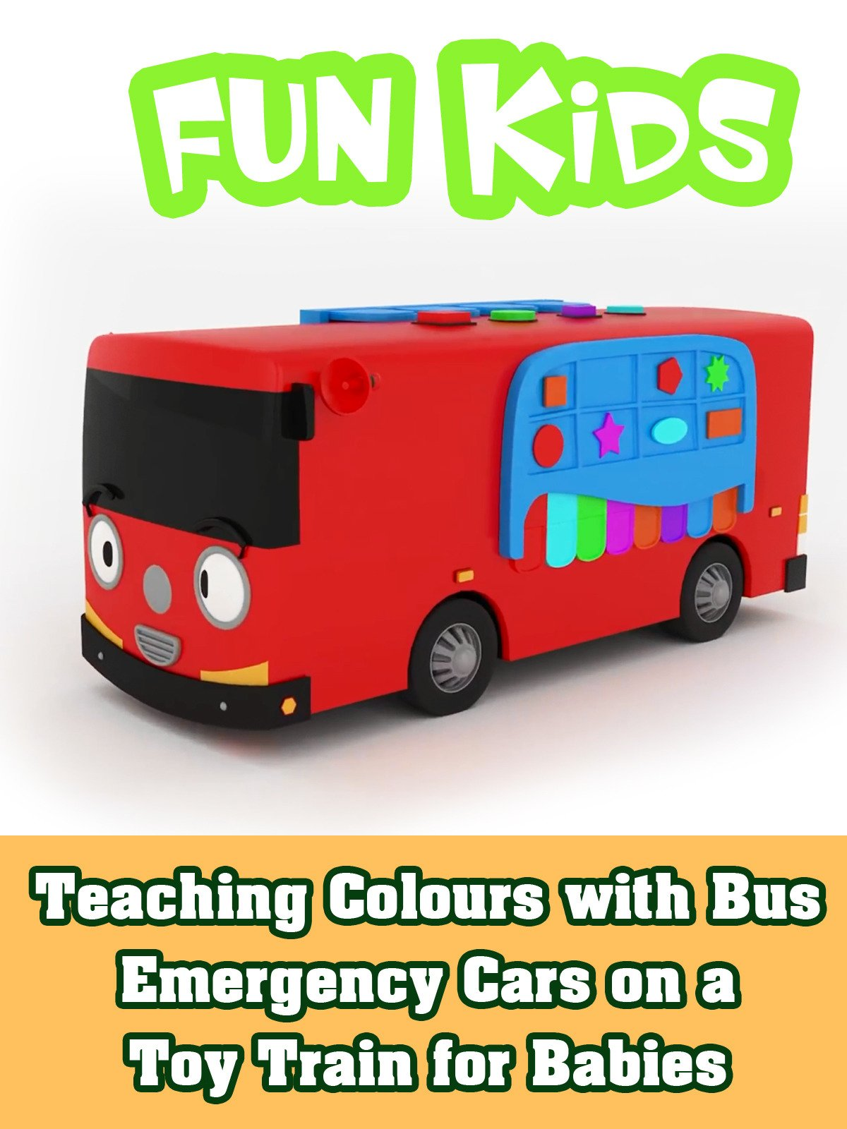 Teaching Colours with Bus Emergency Cars on a Toy Train for Babies