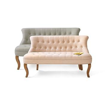 2er Sofa Chesterfield Stil, Textilbezug, natur
