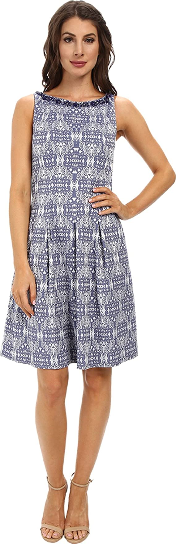 Adrianna Papell Women's Release Pleat Fit and Flare Dress