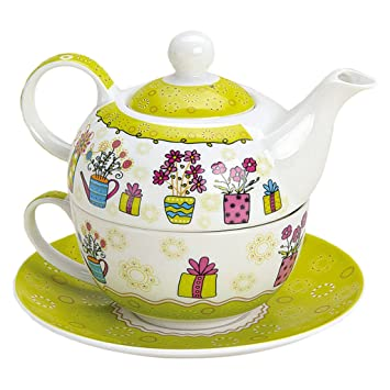 tea for one set 3 teilig porzellan teekanne mit tasse und untertasse in geschenkbox us43. Black Bedroom Furniture Sets. Home Design Ideas