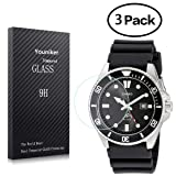 Youniker 3 Pack for Casio MDV106-1A Watch Screen Protectors Tempered Glass for Casio MDV106-1A Watch Screen Protector Foils Glass 9H 0.3MM Anti-Scratch Anti-Fingerprint Bubble Free (Color: Clear)