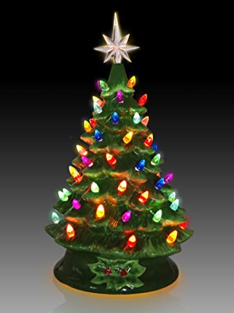 tabletop ceramic lighted green christmas tree - Ceramic Christmas Trees With Lights