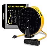 30Ft Retractable Extension Cord Reel with 3 Electrical Power Outlets - 16/3 Durable Yellow Cable - Perfect for Hanging from Your Garage Ceiling (Color: 16/3 Gauge, 30ft Length - Yellow & Black)