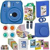Fujifilm Instax Mini 9 Instant Camera Cobalt Blue + Fuji Instax Film Twin Pack (20PK) + Blue Camera Case + Frames + Photo Album + 4 Color Filters and More Top Accessories Bundle (Color: Camera Cobalt)