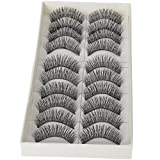 ILJILU 10 Pairs Black Long Thick Soft Reusable False Eyelashes Fake Eye Lash for Makeup Cosmetic (Color: Fake Eyelash, Tamaño: 100 Pcs)