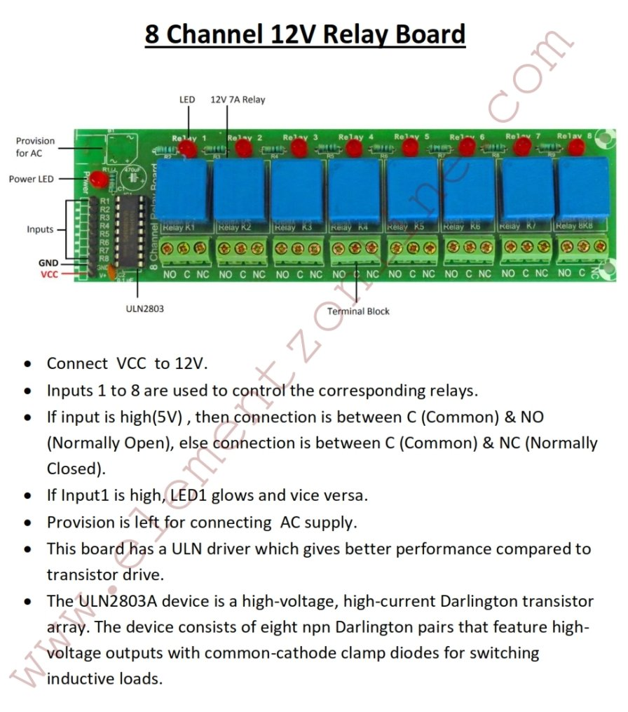 Elementz Engineers Guild Pvt Ltd Eight Channel  Ch V Uln - Normally open normally closed common relay