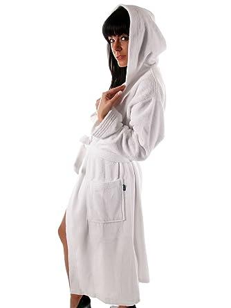 Stehle Filmscheinwerfer damen bademantel mit kapuze s m l xl saunamantel länge 125 cm