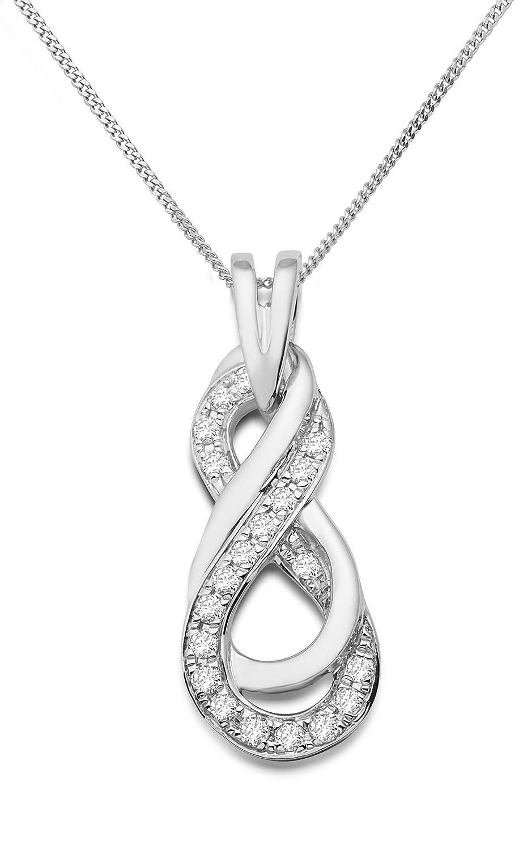 Miore Damen-Halskette mit Anhänger ca. 0.20ct Brillanten 9 Karat 375 Weißgold SA941N
