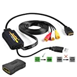 1080P HDMI to RCA Adapter with HDMI Coupler for Any HDMI Streaming Devices, Android TV KODI Box, Wii, PS3, PS4, Xbox One, DVD Player and More. All-In-One HDMI to 3RCA Composite AV Video Converter (Color: Black)