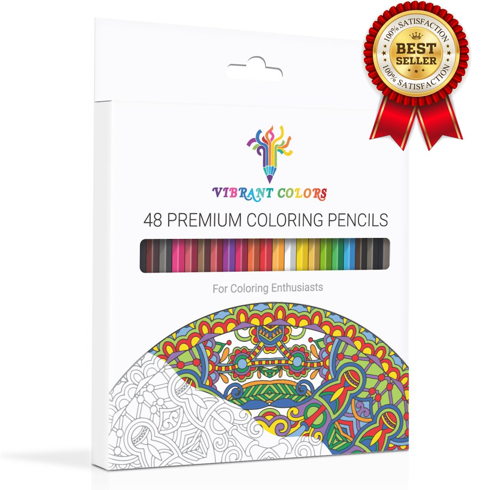 VIBRANT COLORS 48 Colored Pencils Set For Adult Coloring, Rich Watercolor Pencils with A Brush & BONUS Coloring Book! Ready To Use Pre-Sharpened Pencils For EASY ART CREATION