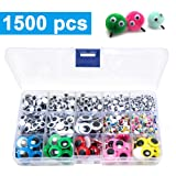 1500pcs Googly Wiggle Eyes Self Adhesive, for Craft Sticker Multi Colors and Sizes for DIY by ZZYI (Color: Multicolor Eyes, Tamaño: 1500pcs)