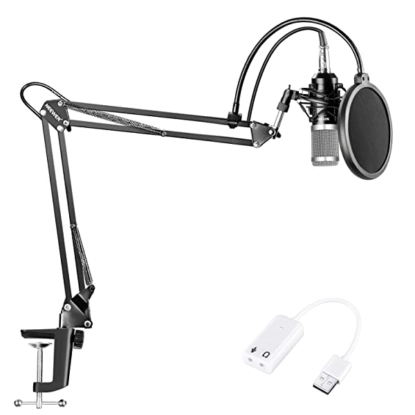 Neewer NW-800 Condenser Microphone (Black/Silver)Kit with USB Sound Card Adapter,Adjustable Suspension Scissor Arm Stand,Shock Mount,Pop Filter for Studio Recording Broadcast YouTube Live Periscop