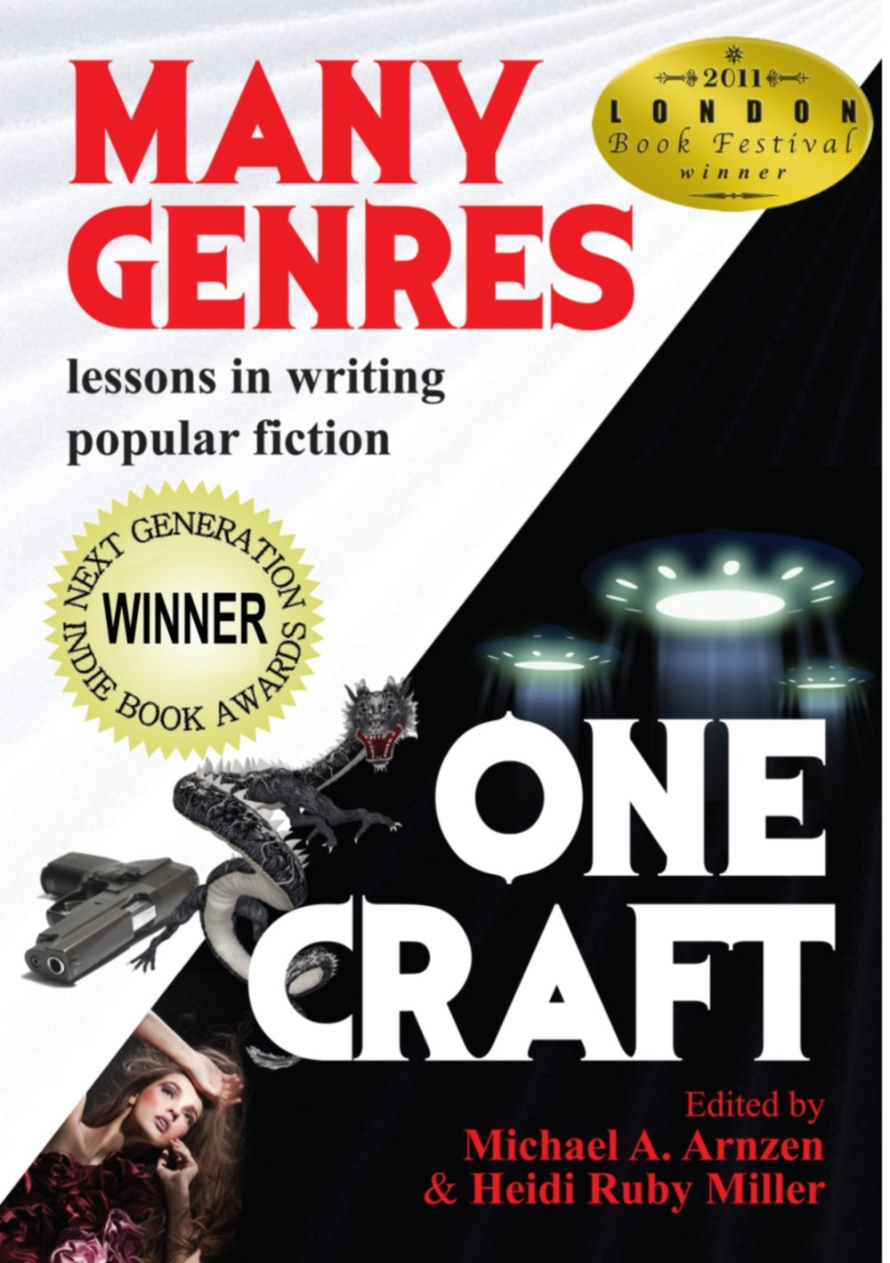 http://www.amazon.com/Many-Genres-One-Craft-Lessons/dp/0938467085/ref=sr_1_1?s=books&ie=UTF8&qid=1406122978&sr=1-1&keywords=many+genres+one+craft+lessons+in+writing+popular+fiction&dpPl=1