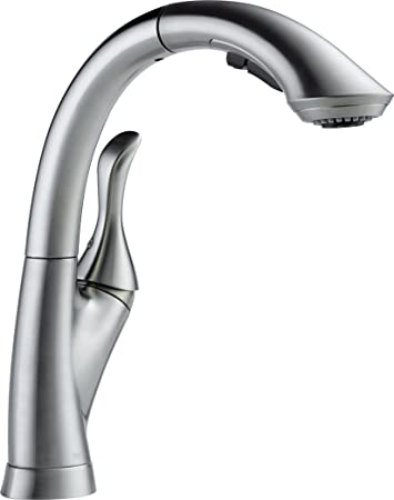 Delta Faucet 4153-AR-DST Linden Single Handle Water Efficient Pull Out Kitchen Faucet, Arctic Stainless