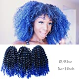6 Pcs/Pack Marlybob Crochet Hair 8 Inch Short Kinky Curly Braiding Hair Kanekalon Synthetic Hair Extensions (8 Inch, 1B/Blue) (Color: 1B/Blue, Tamaño: 8 Inch)