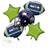 Andaz Press Balloon Bouquet Party Kit with Gold Cards & Gifts Sign, Seahawks Football Themed Foil Mylar Balloon Decorations, 1-Set (Color: Sports Seahawks)