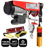 Partsam 1100 lbs Lift Electric Hoist Crane Remote Control Power System, Zinc-Plated Steel Wire Overhead Crane Garage Ceiling Pulley Winch w/Premium Straps (UL/CUL Approval, w/Emergency Stop Switch) (Tamaño: 1100 lbs w/ 2 Slings)