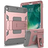 iPad Pro 10.5 Case,SKYLMW iPad Pro 10.5 inch 2017 Case [Heavy Duty] Three Layer Hybrid Shockproof Full-Body Protective Case Cover with Kickstand for iPad Pro 10.5 inch 2017 Model, Rose Gold (Color: Gold)