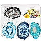 Agate Coaster Silicone Resin Mold, 5-Cavity 2.8-5.2inch (Color: Irregular Coaster 5-cavity)