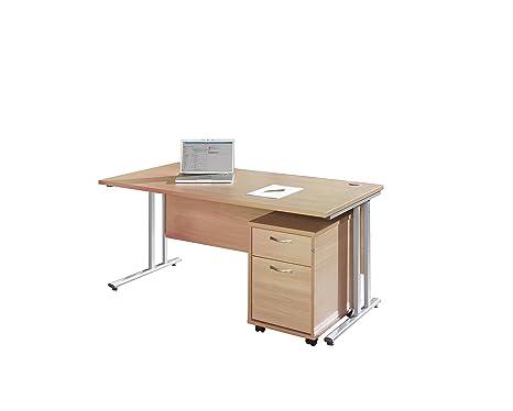 Bimi faggio rettangolare da scrivania con 2cassetti mobile Pedestal–scrivania 1600x 800