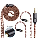 FDBRO 8-core Earphone Upgrade Cable CD Texture Plug Replacement Cable Detachable Ear-Hook Type OFC Silver Plated Earphone Cable for UM3X ES3 ES5 W4R ZS5 ZS6 ZS10 ZST ZSR (0.78mm 2PIN, Bronze+2.5mm) (Color: Bronze+2.5mm, Tamaño: 0.78mm 2PIN)
