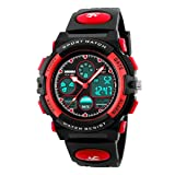 Watch,Kids Watch,Digital Outdoor Waterproof Watches Analog Quartz Wristwatch with Black Strap (red)