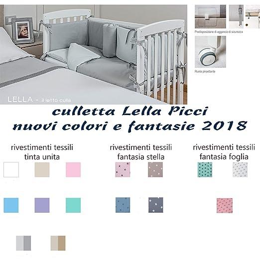 LETTINO CULLA CO-SLEEPING CON RIVESTIMENTO TESSILE LELLA PICCI (GRIGIO CON STELLE)